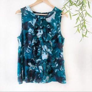 Ann Taylor blue l floral sleeveless blouse